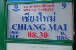Cartel con mi tren a Chiang Mai